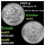 1892-p Morgan Dollar $1 Grades Select Unc