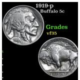 1919-p Buffalo Nickel 5c Grades vf++