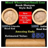 Mixed small cents 1c orig shotgun roll,1920-s Whea