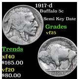 1917-d Buffalo Nickel 5c Grades vf+