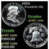 1955 Franklin Half Dollar 50c Grades GEM++ Proof C