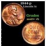 1944-p Lincoln Cent 1c Grades Gem+ Unc RB