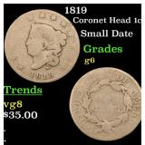 1819 Coronet Head Large Cent 1c Grades g+