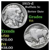 1915-d Buffalo Nickel 5c Grades f+