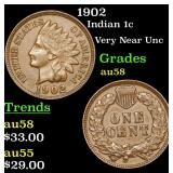 1902 Indian Cent 1c Grades Choice AU/BU Slider