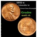 1951-s Lincoln Cent 1c Grades GEM Unc RB