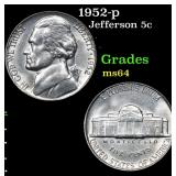 1952-p Jefferson Nickel 5c Grades Choice Unc