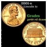2001-s Lincoln Cent 1c Grades Gem++ Proof Red Deep