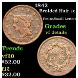 1842 Braided Hair Large Cent 1c Grades vf details