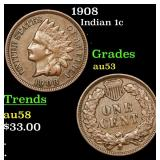 1908 Indian Cent 1c Grades Select AU
