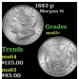 1882-p Morgan Dollar $1 Grades Select+ Unc