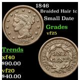 1846 Braided Hair Large Cent 1c Grades vf+