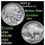 1921-p Buffalo Nickel 5c Grades vf+