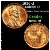 1956-d Lincoln Cent 1c Grades GEM Unc RD