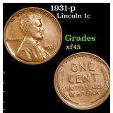 1931-p Lincoln Cent 1c Grades xf+