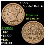 1850 Braided Hair Large Cent 1c Grades xf details