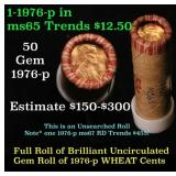 Uncirculated small cents 1c orig shotgun roll, 197