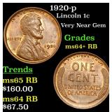 1920-p Lincoln Cent 1c Grades Choice+ Unc RB