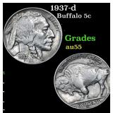 1937-d Buffalo Nickel 5c Grades Choice AU