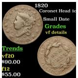 1820 Coronet Head Large Cent 1c Grades vf details