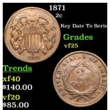 1871 Two Cent Piece 2c Grades vf+