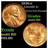 1936-s Lincoln Cent 1c Grades GEM Unc RD