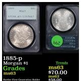 PCGS 1885-p Morgan Dollar $1 Graded ms63 By PCGS