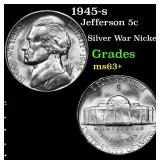 1945-s Jefferson Nickel 5c Grades Select+ Unc