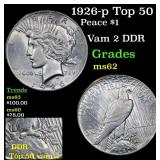 1926-p Top 50 Peace Dollar $1 Grades Select Unc