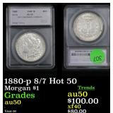 1880-p 8/7 Hot 50 Morgan Dollar $1 Graded au50 By