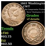 1863 Washington Civil War Token 1c Grades vf detai