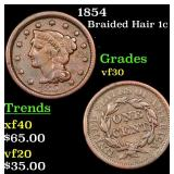 1854 Braided Hair Large Cent 1c Grades vf++