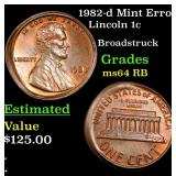 1982-d Mint Error Lincoln Cent 1c Grades Choice Un