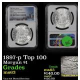 NGC 1897-p Top 100 Morgan Dollar $1 Graded ms63 By