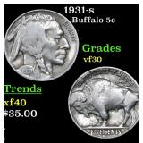 1931-s Buffalo Nickel 5c Grades vf++