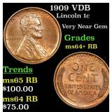 1909 VDB Lincoln Cent 1c Grades Choice+ Unc RB