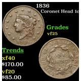 1836 Coronet Head Large Cent 1c Grades vf+