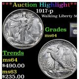 ***Auction Highlight*** 1917-p Walking Liberty Hal