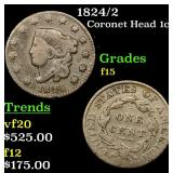1824/2 Coronet Head Large Cent 1c Grades f+