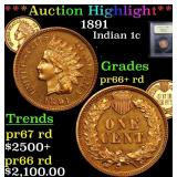 ***Auction Highlight*** 1891 Indian Cent 1c Graded