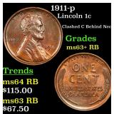 1911-p Lincoln Cent 1c Grades Select+ Unc RB