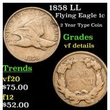 1858 LL Flying Eagle Cent 1c Grades vf details