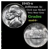1945-s Jefferson Nickel 5c Grades Choice+ Unc