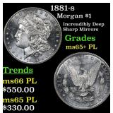 1881-s Morgan Dollar $1 Grades GEM+ PL