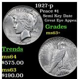 1927-p Peace Dollar $1 Grades Select+ Unc