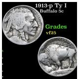 1913-p Ty I Buffalo Nickel 5c Grades vf+