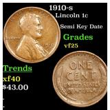 1910-s Lincoln Cent 1c Grades vf+