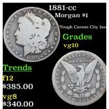 1881-cc Morgan Dollar $1 Grades vg+