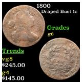 1800 Draped Bust Large Cent 1c Grades g+