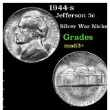 1944-s Jefferson Nickel 5c Grades Select+ Unc